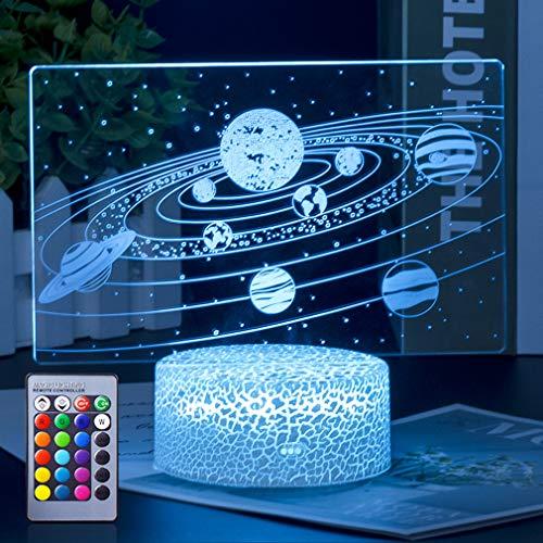 Sonnensystem 3D Illusion Lampe,3D Nachtlicht mit 16 Farben Ändern und Fernbedienung,Geburtstags und Weihnachtsgeschenke für Kinder