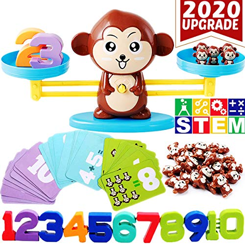 CozyBomB Monkey Balance Counting Cool Math Games  STEM Toys for 3 4 5 Year olds Cool Math Educational Kindergarten  Number Learning Material for Boys and Girls