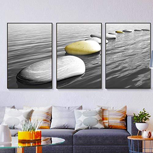 HHGO 3 stuks canvas muurschilderingen muurkunst deco, abstracte schilderijen wanddecoratie voor woonkamer slaapkamer keuken kantoor, moderne thuis foto's decoraties, zwart frame