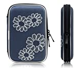 Xcessor Protectron T5 2.5' Inch Portable Case for Hard Drive HDD. Protective Bag with Flower Texture. Blue