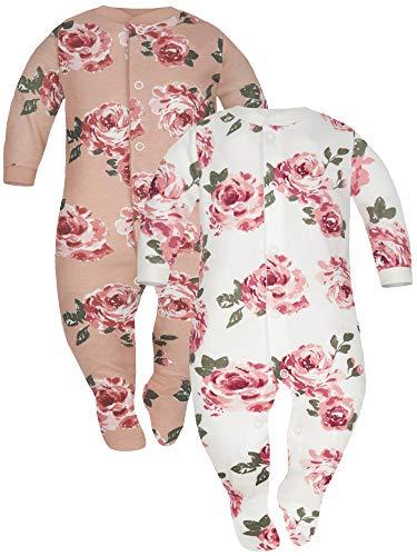 Sibinulo Jungen Mädchen Baby Schlafstrampler Kleinkind, 0-3 Monate 100% Baumwolle Babykleidung Set 2er Pack Keksrosen, Weiße Rosen 62
