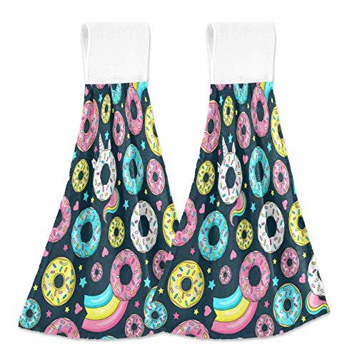 Toallas de mano para cocina, donut, unicornio, baño, toallas de cocina con lazo para colgar, juego de 2 toallas de mano para colgar con forma de corazón y estrellas