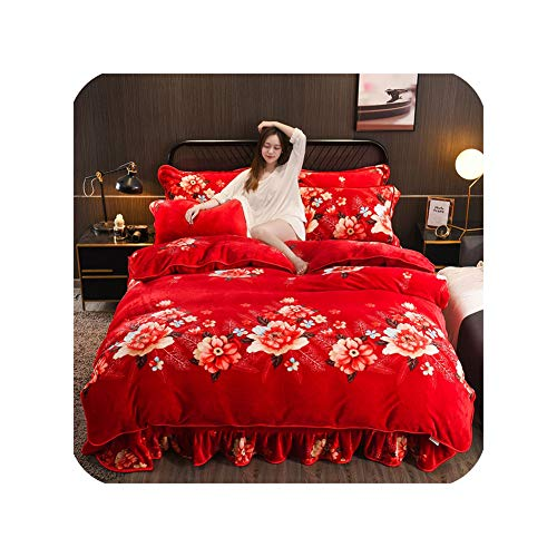 For Sale! Winter Coral Four Piece Flannel Double Face Quilt Cover Fallette Thickened Milk Fleece Bed...