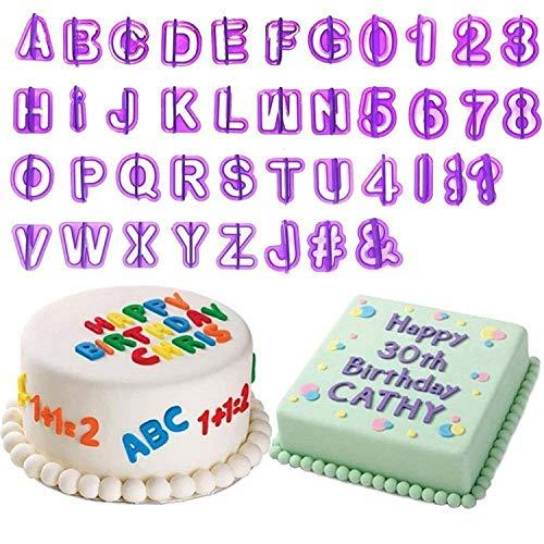 Homewit Kuchen Buchstaben,40 Teilig Fondant Buchstaben Zahlen und Satzzeichen Brief Anzahl Tortendeko Schneider DIY Ausstecher Set für Kuchen Dekoration