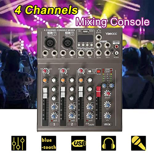 Best Price 4 Channel Live Studio Stereo Audio bluetooth Mixer Sound Mixing DJ USB Console