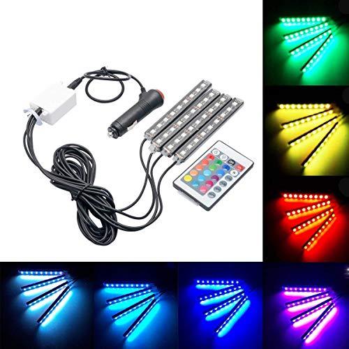 Tira de Luces LED de Neón para Coche, Riloer Kit de Luces Interiores Multicolores con 36 Luces LED de 4 Piezas con Función Activa de Sonido de Control Remoto