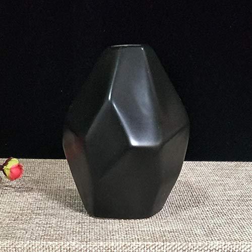 Vase Keramikvase Trockenblume Kreative Einfache Dekoration Haushaltsornament Geometrisch Gravierte Flasche Schwarz