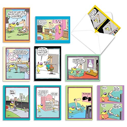 The Best Card Company - 10 Funny Blank Cartoon Cards with Envelopes (4 x 5.12 Inch) - All Occasion Comic Assortment - Doggone Funny McCoy M6465OCB