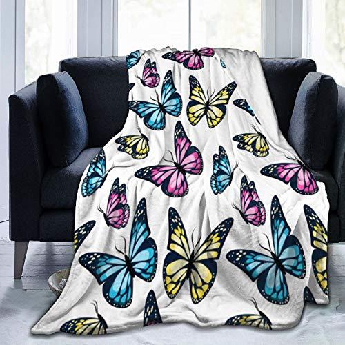 Manta de forro polar suave para todo el año, diseño de mariposas voladoras y brillantes, 3 tamaños