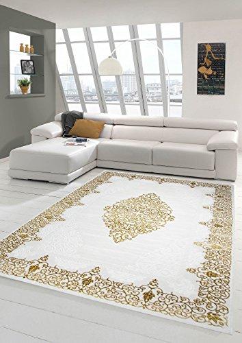 Traum Designer Teppich Moderner Teppich Wollteppich Meliert Wohnzimmerteppich Wollteppich Ornament Creme Beige Gold Größe 160x230 cm