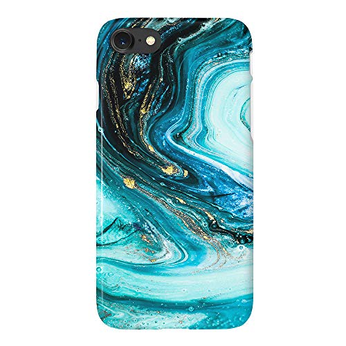 uCOLOR Turquoise Blue Gold Marble Case Compatible with iPhone 6S 6 iPhone 8/7 Cute Protective Case Slim Soft TPU Silicon Shockproof Cover Compatible iPhone 6s/6/7/8(4.7')