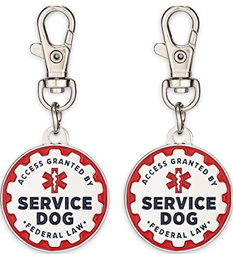 Industrial Puppy 2 Pack Service Dog Tag Double Sided: Metal Pet ID Tags for Service Animals, Emotional Support Dogs & Therapy Dogs, 1/1.25 Inch Diameter, Navy Lettering & Red Enamel Trim