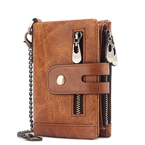 TENDYCOCO Brieftasche dreifach gefaltet mit Schlüsselkette Diebstahlsicheres Portemonnaie mit Mehreren Kartenfächern für Herren