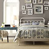 White Antique Iron Metal Bed Frame Vintage Bedroom Furniture Rustic Wrought Country Dark Bronze Wire Cast Womens Mens Girls Kids Princess Headboard Footboard Slats Rails Set Twin Full Queen King Sized (full)