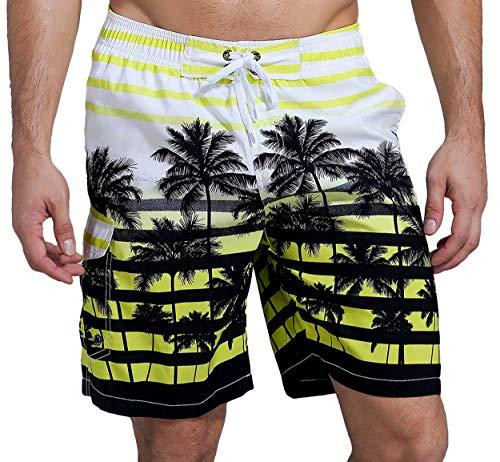 SHEKINI Herren Sommer Badeshorts Hawaii Kokospalme Blumenmuster Badehose mit 3 Taschen Innenslip Schnelltrocknend Strandshorts (34, Geld)