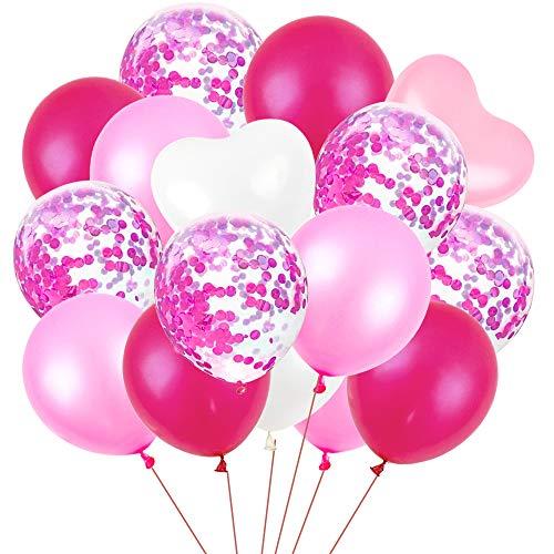 BAKHK 100 Stücke 12 Zoll Rosa Weiß Lila Latexballon(einschließlich Konfetti , Herzförmige) Luftballons Mädchen für Hochzeit Geburtstag Weihnacht Baby Shower Graduierung Brautgeschenke