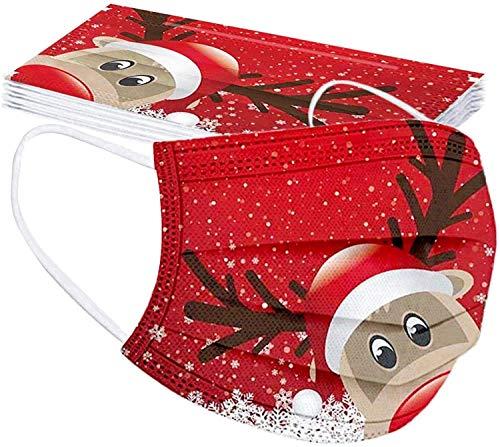 Wakerda 50 Stück Weihnachten Einweg Mundschutz Erwachsene,3 lagig Bandana Staubschutz,Hängende Ohren,Staub Schutzhülle,Bandana,Atmungsaktive