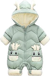 Minizone Baby Unisex Strampler mit Kapuze Overall Winter Outfits Jungen Mädchen Langarm Schneeanzug Jumpsuit 0-3 Jahre