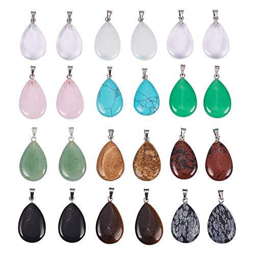 PandaHall Elite 24 Stück Wassertropfen Edelsteine Anhänger Chakra Perlen Sortierte Farbe DIY Kristall Anhänger