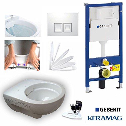 Geberit Duofix Vorwandelement mit Delta50, Keramag Renova Nr. 1 rimfree, Spülrandlos, Tiefspül WC, inkl. Sitz und Beschichtung