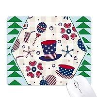 米国の帽子を飲み愛ハート花火フェスティバル オフィスグリーン松のゴムマウスパッド