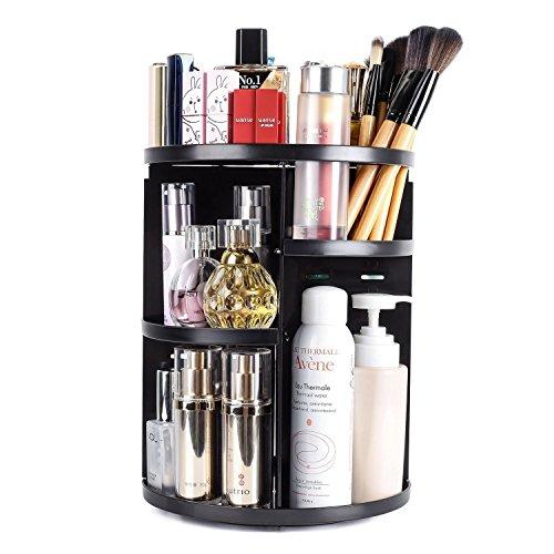 LeSB Organizador del Maquillaje, 360 Grados Que Giran la Joyería Ajustable y el Soporte de Exhibición Cosmético, 8 Capas Componen la Caja de Almacenaje - Negro