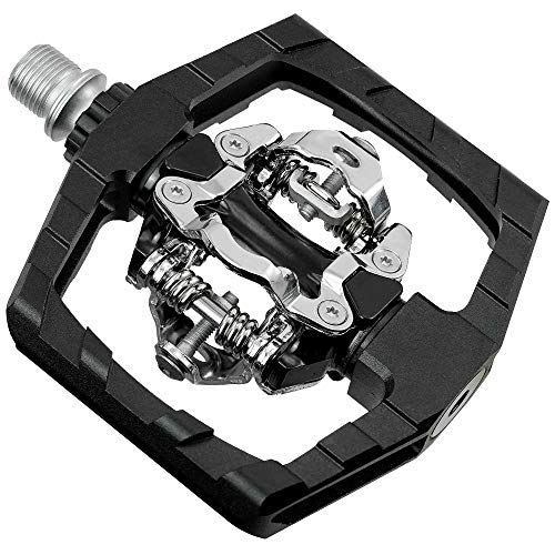 Venzo Click'R Compatible with Shimano SPD Mountain Bike Sealed Pedals with Cleats - Dual Platform Clipless Pedals for Mountain Bike - Easy Clip in & Out