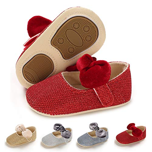 Antheron Baby Girls Mary Jane Flats Soft Sole Infant Moccasins Floral Sparkly Toddler Princess Dress Shoes(Red,12-18 Month)