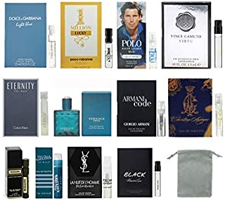 12 Cologne Designer Samples Vial Set for Men with Velvet bag