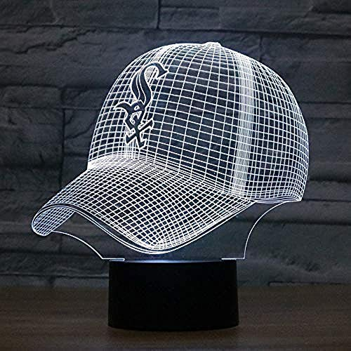 Mode führte 3D-Illusion Nachtlicht Chicago White Sox Baseball Team Cap 7 Farbe American Baseball Hut Dekor Glühbirne USB-Lampe