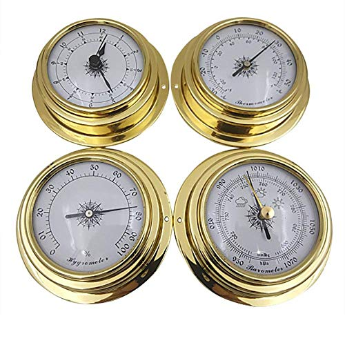 LuukUP 4 STÜCKE 98mm Kupfer Shell Zirkonium Marine Barometer Thermometer Hygrometer Barometer Uhr, 4-teilige analoge Wetterstation Wandmontage, für Familie Fabrik Labor Schiff Wetterstation