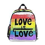 Love Is LGBT Pride Rainbow Mochila para niños pequeños, preescolar, estudiante, bolsa de libro para guardería, niños y niñas, mochila de viaje, senderismo, mochila