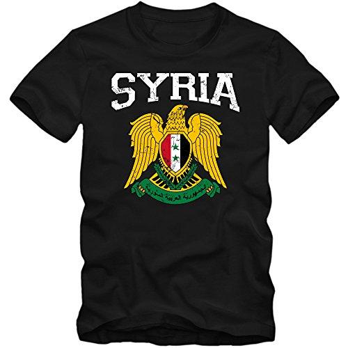 Syrien Wappen T-Shirt | Suriyya | Republik Syrien | Damaskus | Herrenshirt, Farbe:Schwarz (Deep Black L190);Größe:M