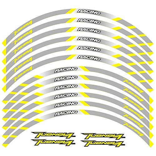 12 PCS Ajuste de la Rueda de la Rueda de la Rueda de la Rueda de la Rueda de la Raya del Borde Reflectante para Aprilia Tuono V4 Pegatinas para Moto (Color : 6)