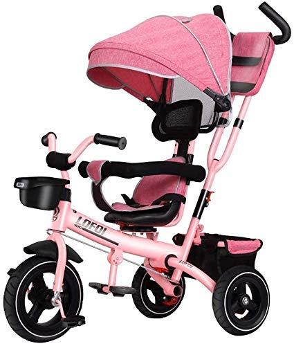 KDMB Triciclo pieghevole, carrello Triciclo per Bambini Bicicletta per Bambini Passeggino leggero per bicicletta Sedile girevole adatto per Bambini di età compresa tra 1/3/6 (Colore: Verde)