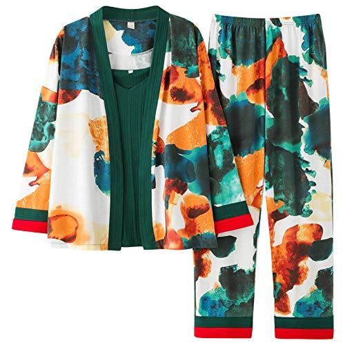 DFDLNL Pijamas Mujer Abrigo Corto + Chaleco con Cuello en V + Pantalones Conjuntos de Pijamas para Mujer Ropa de Dormir de algodón Pijamas Femeninos para Todas Las Estaciones XL
