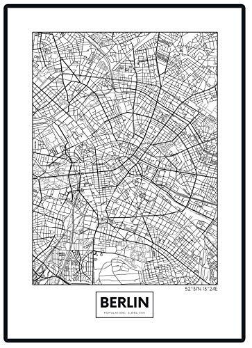 Stadtposter Minimalistic Stadtplanen Poster - Berlin, Hamburg, Munich, Frankfurt, Cologne (Berlin)