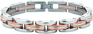 Bevilles Stainless Steel Two Tone White and Rose Mens Bracelet