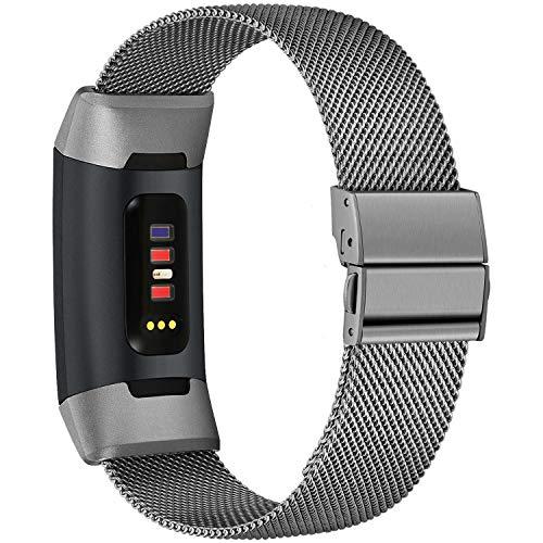 TECOOL Correa de Reemplazo para Fitbit Charge 3 /Se/Charge 4, Correa Deportiva Pulseras de Repuesto para Smartwatches Ajustable Metal de Acero Inoxidable Banda de Reloj para Mujeres, Hombres S/L