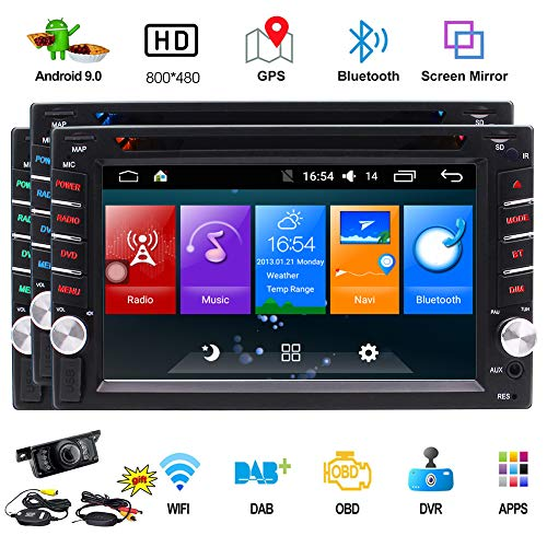 Double Din Android Car Navigation Stereo in Dash Android 9.0 Car Stereo with Bluetooth GPS Navigation WiFi FM AM Car Radio 6.2 inch HD Touchscreen Support Mirror Link Wireless Rear View Camera
