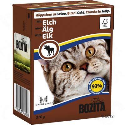 Bozita Chunks in Jelly Mega Pack Getreidefreies komplettes Nassfutter für Katzenfutter für stärkeres Immunsystem, klarere Sicht, glänzendes und weiches Fell – Elch 32 x 370 g
