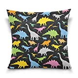 Funda de almohada decorativa para cojín cuadrado, diseño de dinosaurios de dibujos animados, funda de almohada para sofá cama, funda de almohada de doble cara, 30,5 x 30,5 cm