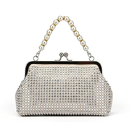 QIANJINGCQ Moda todo-fósforo personalidad perla diamante bolsa cena bolso cadena bolso mensajero clip boca rhinestone bolso dama bolso de hombro