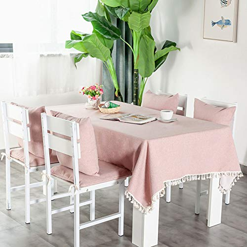 N/A JINYUAN Rectangular Tablecloth Waterproof Blending Solid Table Cover Anti-Scalding Wedding Cloth for The Table Home Textile Garden Pink 55x47inch 140x120cm