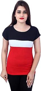Ytrick Women Red Cotton Tshirts