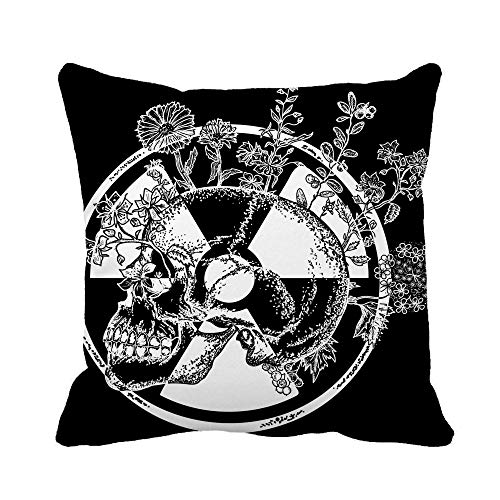 Awowee Throw Pillow Cover Atomic Skull Tattoo and Symbol of Radiation Apocalypse Nuclear 18x18 Inches Pillowcase Home Decorative Square Pillow Case Cushion Cover