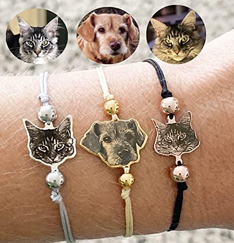 Pulsera grabada mascota pulsera personalizada imagen perro, pulsera silhouette Perro Gato Joya...