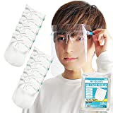 NK-Quality 【日本国内検品】フェイスシールド メガネ型 10セット 両面曇り止め FACE SHIELD フェイスガード 透明 軽量 (メガネ シールド10枚セット)
