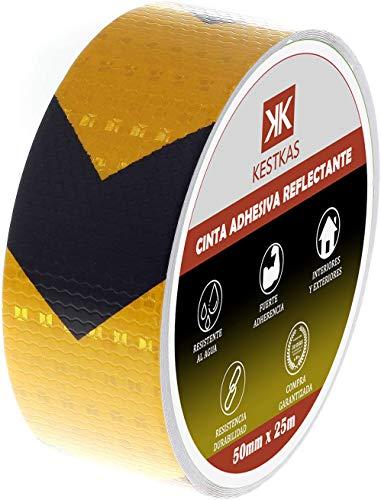 Cinta Adhesiva Reflectante 50mm x 25m KESTKAS - Resistente - Alta Visibilidad - Seguridad - Señalización - Fijación Instantánea - Banda de Reflexión Nocturna - Negra y Amarilla