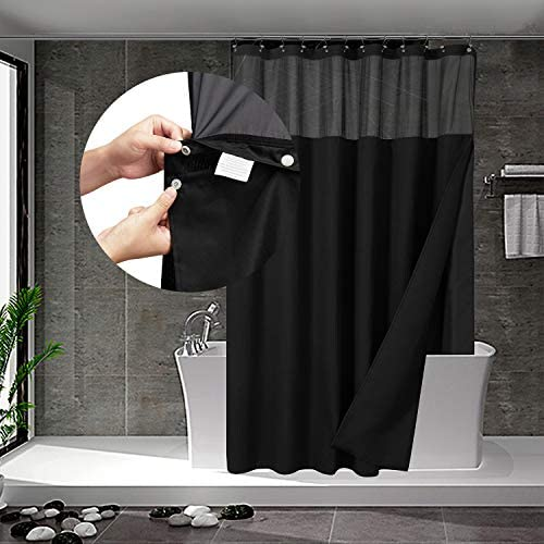 Waffle Weave Shower Curtain with Snap in Fabric Liner Set 12 Hooks Included Hotel Style Water product image